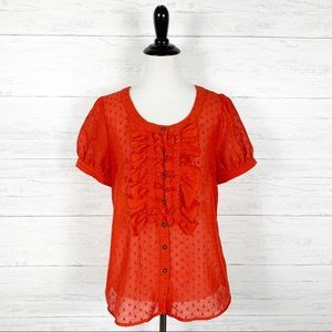 Odille • Red Ruffle Button Down Blouse